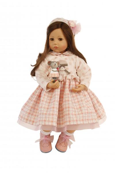 Puppe Elena sitzend 53 cm von Sybille Sauer braune Haare, rose/weisse Kleidung