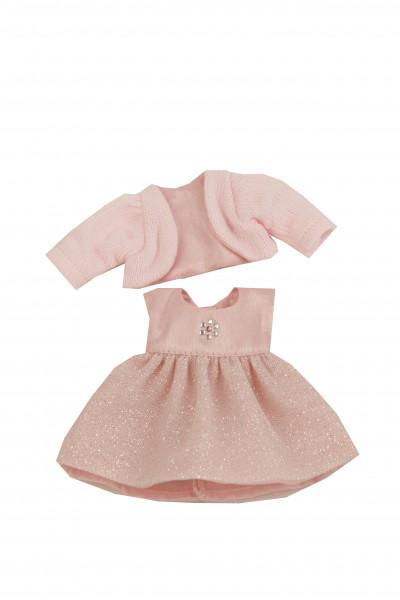 Kleid für Stehpuppe 18 cm, festlich rose