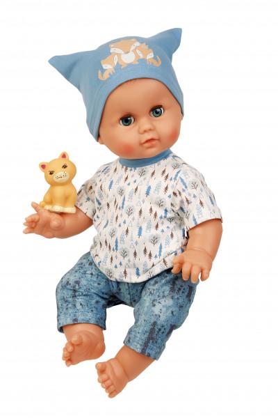 Badepuppe 45 cm Brüderchen mit Malhaar und blauen Schlafaugen, Kleidung blau/weiss