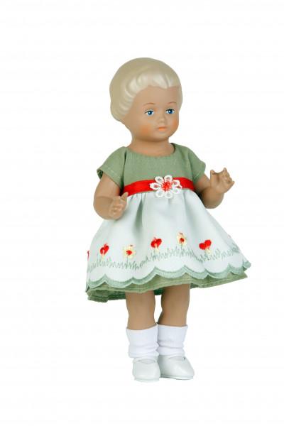 Puppe Ursel 18 cm von 1954 blonde Malhaare, Sommerkleid grün/weiss/rot