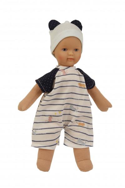 Puppe Schmuserle 30 cm Malhaar, blaue Malaugen, Kleidung blau/weiss