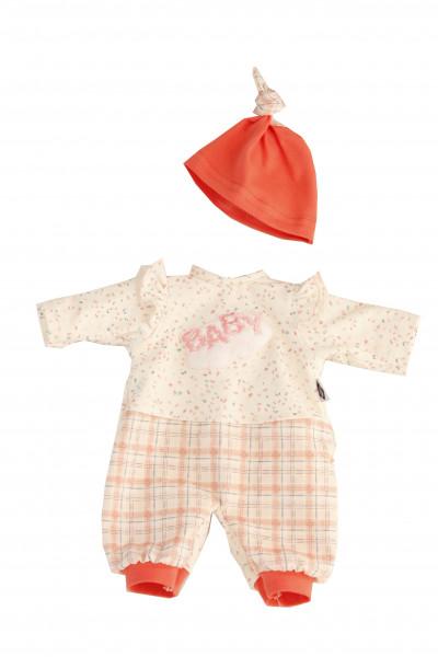 Kleidung zu Puppe Schlummerle 32 cm, Karohose, Pullover+Mütze rose/weiss/