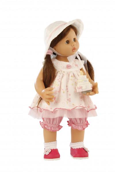 Puppe Müller-Wichtel Lotta 30 cm braune Haare, Sommerkleid weiss/rose