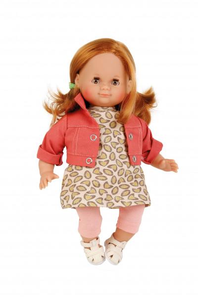 Puppe Schlummerle 32 cm rote Haare, braune Schlafaugen, Sommerkleidung rose/rot/braun