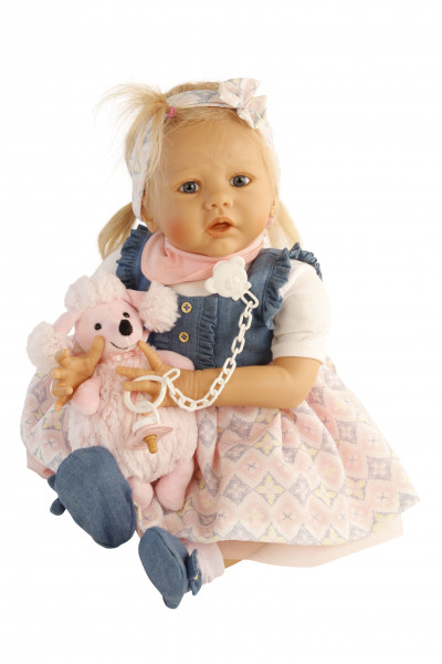 Baby Pina 52 cm von Karola Wegerich , blonde Haare, Kleidung weiss/blau/rose
