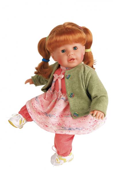 Puppe Susi 45 cm rote Haare, blaue Schlafaugen, Kleidung rose/grün/rot