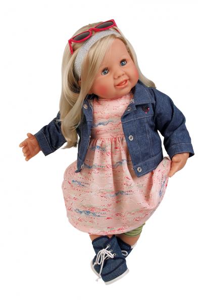 Puppe Klara 52 cm blonde Haare, blaue Schlafaugen, Kleidung rose/grün/blau mit Brillegelb/weiss/blau