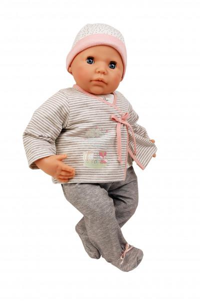 Baby Julchen 52 cm Malhaar, blaue Schlafaugen, Kleidung grau/rose