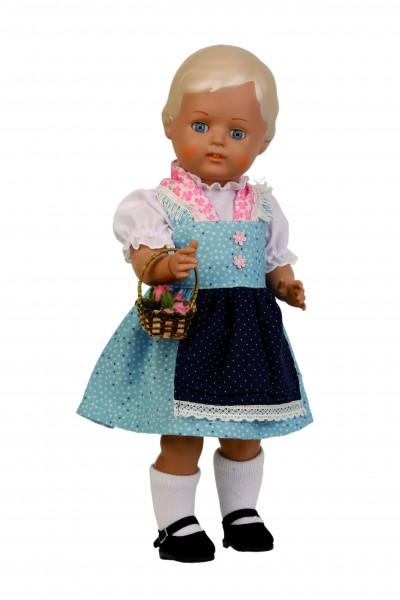 Puppe Christel 41 cm blonde Malhaare, Dirndl blau/weiss