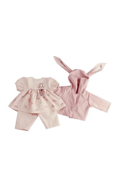 Kleidung zu Baby Amy 45 cm rose mit Hasenmotiv