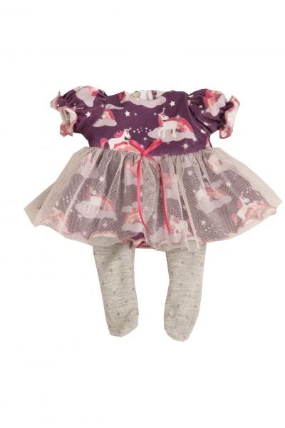 Kleidung zu Puppe Schlummerle 32 cm, Einhornkleid lila mit Tüllrock