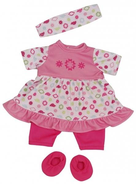 Kleidung zu Puppe 32 cm Schlummerle, Sommerset rose/weiss
