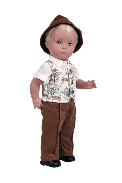 Puppe Hans 46 cm blonde Malhaare, Trachtenkleidung