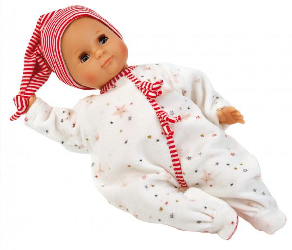 Puppe Schlummerle 32 cm mit Malhaar und blauen Schlafaugen, Overall weiß/rot
