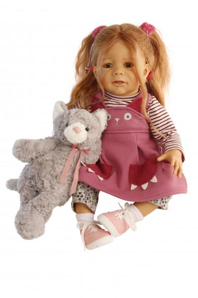 Puppe Femke 60 cm von Karola Wegerich rotblonde Haare, Kleidung Katze