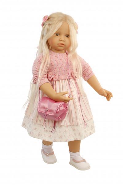 Puppe Anna-Maria 70 cm stehend von Brigitte Paetsch blonde Haare, Kleidung rose/weiss