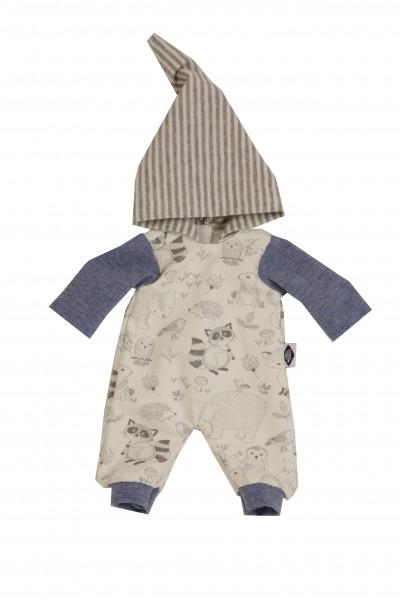 Kleidung zu Puppe Mein 1. Baby 28 cm Overall blau/weiss