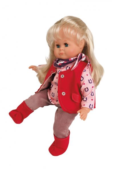 Puppe Schlummerle 37 cm blonde Haare, blaue Schlafaugen, Reitkleidung rose/rotu/rot