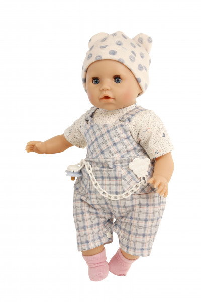 Baby Amy 45 cm mit Schnuller, Malhaar, blaue Schlafaugen, Kleidung weiss/blau