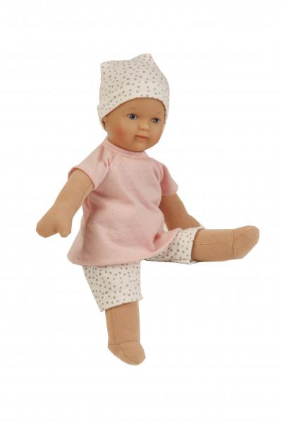 Puppe Schmuserle 30 cm Malhaar, braune Malaugen, Kleidung rose/weiss mit Tupfen