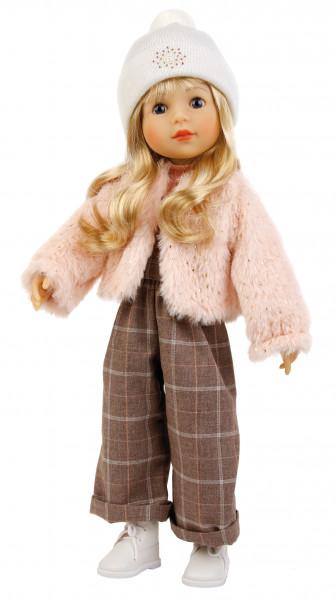 Stehpuppe Yella 46 cm blonde Haare, winterliche Kleidung