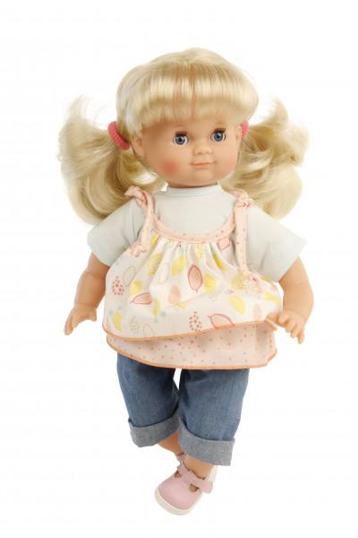 Puppe Schlummerle 32 cm blonde Haare, blaue Schlafaugen, Sommerkleidung bunt