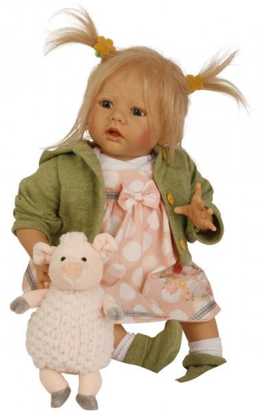 Baby Pina 52 cm von Karola Wegerich , blonde Haare, Kleidung rose/weiss/grün
