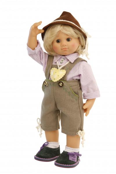 Puppe Müller-Wichtel Sam 30 cm blonde Haare, Trachtenkleidung