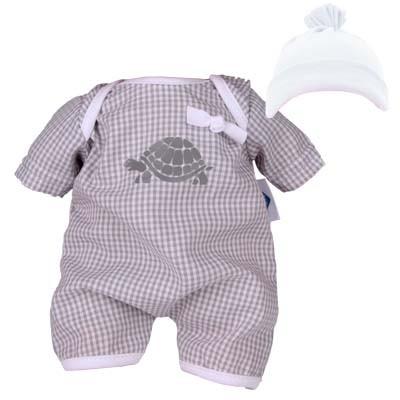 Kleidung zu Puppe 32 cm Schlummerle Spielanzug mit Mütze grau