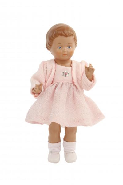 Puppe Ursel 18 cm von 1954 braune Malhaare, Sommerkleid rose