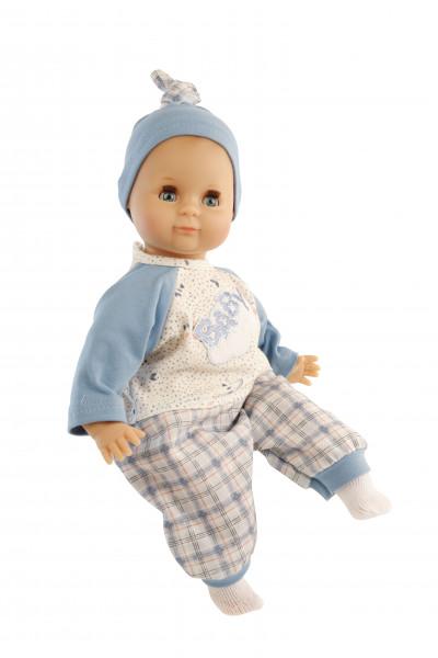 Puppe Schlummerle 32 cm mit Malhaar und blauen Schlafaugen, Kleidung blau/weiss, ror