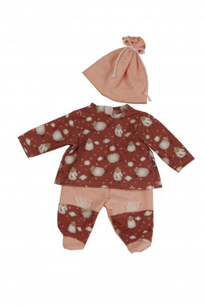 Kleidung zu Baby Amy 45 cm rose/rot mit Schäfchendruck