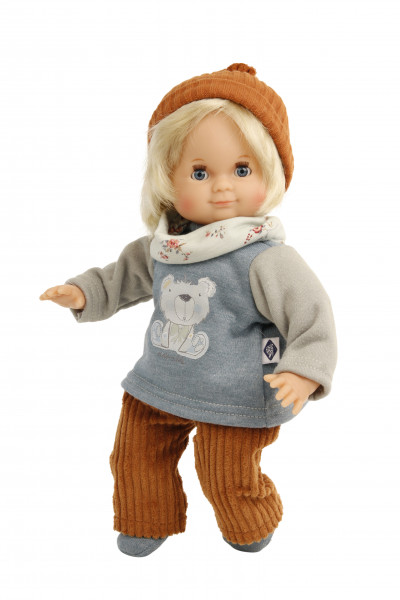 Kleidung zu Puppe Schlummerle 32 cm, winterlich grau/orange/blau