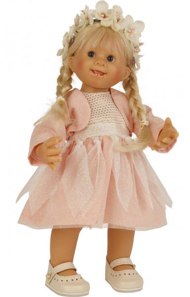 Puppe Müller-Wichtel Fiona 30 cm blonde Haare, Tüllkleid rose/weiss