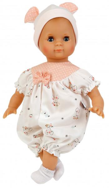 Puppe Schlummerle 32 cm mit Malhaar und blauen Schlafaugen, Overall weiß/rose