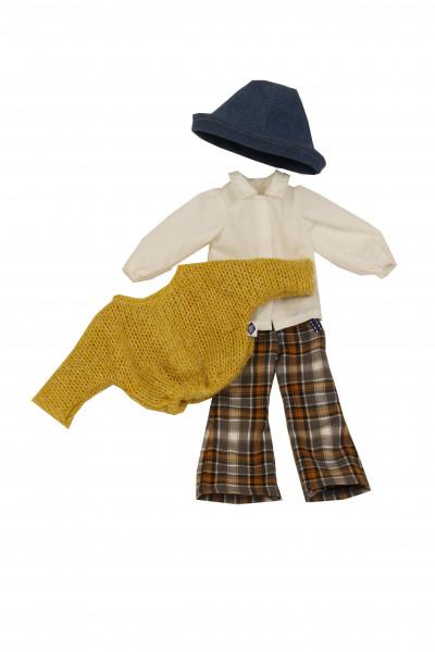 Kleidung zu Puppe Yella 46 cm Karohose, Pulli, Hutwinterlich