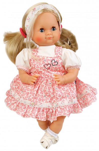 Puppe Schlummerle 32 cm blonde Haare, blaue Schlafaugen, Sommerkleidung rose/weiss