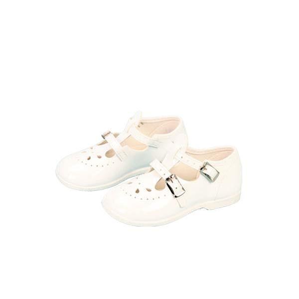 Schnallenschuhe weiß für Puppengröße70 cm