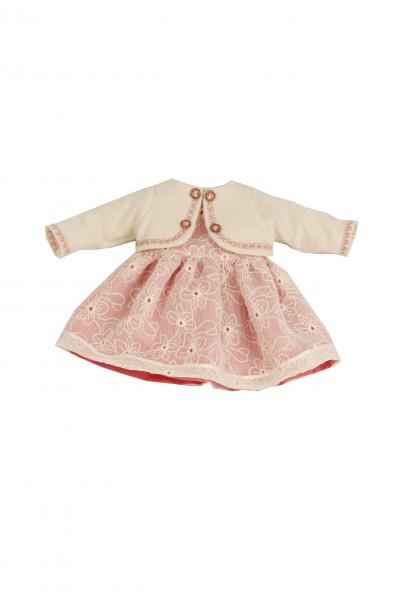 Kleid für Stehpuppe 41 cm rose/weiss