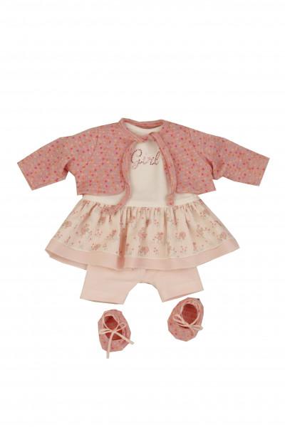 Kleidung zu Puppe 37 cm Schlummerle/ Strampelchen/Schlenkerle rose/weiss