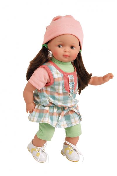 Puppe Strampelchen 37 braune Haare, braune Malaugen, Kleidung blau/grün/rose