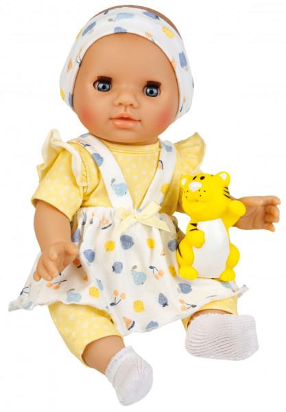 Puppe Sunny 30 cm mit Malhaar und blauen Schlafaugen, Kleidung gelb/weiss/blau