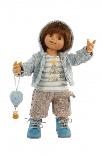 Puppe Müller-Wichtel Oskar 30 cm braune Haare, Kleidung blau/weiss/braun mit Ballon