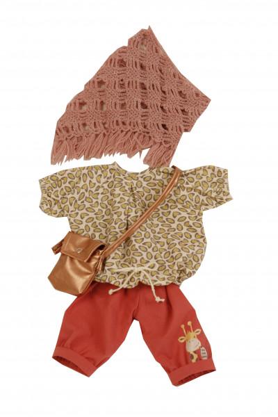 Kleidung zu Puppe 52 cm Elli/ Klara/ Julchen rot(braun/beige mit Tasche