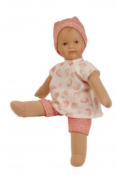 Puppe Schmuserle 30 cm Malhaar, braune Malaugen, Kleidung rose/weiss mit Erdbeerdruck