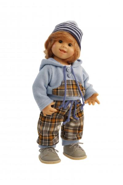 Puppe Müller-Wichtel Barry 30 cm rote Haare, winterliche Kleidung