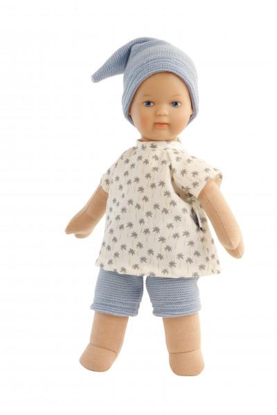 Puppe Schmuserle 30 cm Malhaar, blaue Malaugen, Kleidung blau/weiss mit Palmendruck