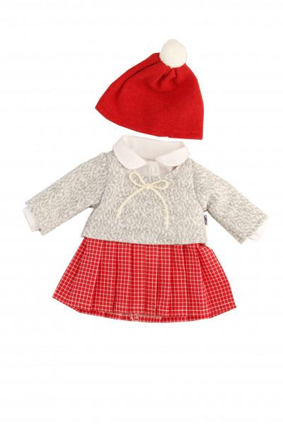 Kleid zu Stehpuppe 25-49 cm winterlich rot/grau/weiss