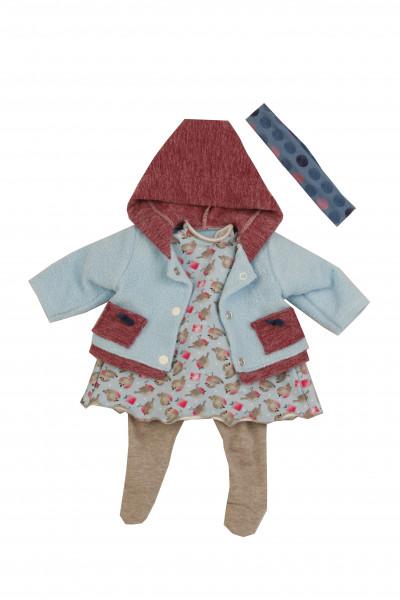 Kleidung zu Puppe 45 cm Susi/Hanni winterlich blau/grau/rot