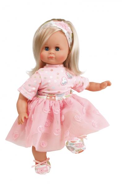 Puppe Schlummerle 37 cm blonde Haare, blaue Schlafaugen, Prinzessinnenkleid rose mit Tüllrock